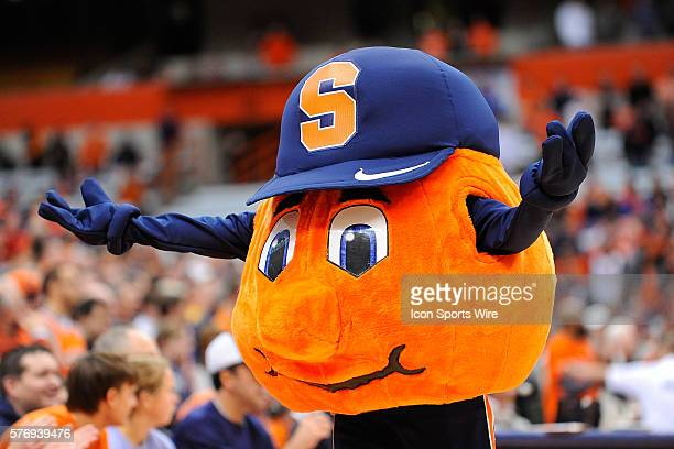 Syracuse Orange mascot Otto the Orange prior to the start of an NCAA Basketball game between the Syracuse Orange and the West Virginia Mountaineers...