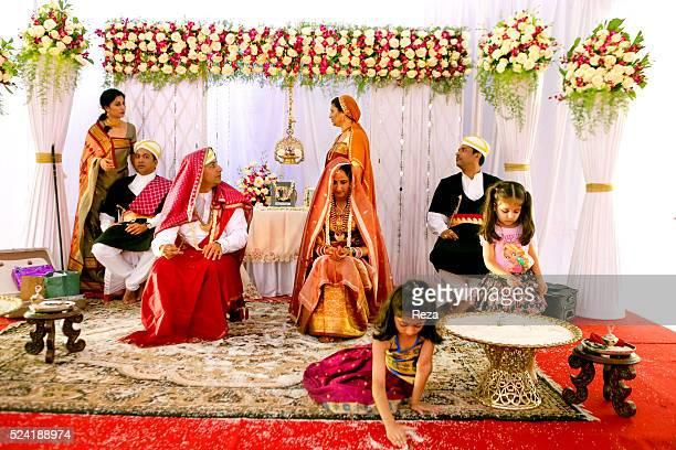 January 2013 Captal Madikeri Kodagu District Karnataka State India During the ceremony of a traditional Kodava marriage at the home of Dharmaja...