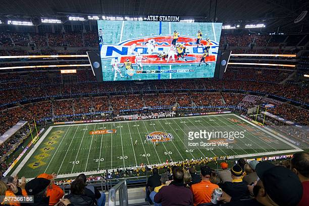 3 January 2013 Missouri Tigers v Oklahoma State Cowboys Fans watch the game on the jumbotron during a game at ATT Stadium