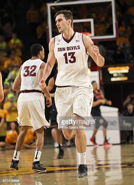 ASU Center Jordan Bachynski during Arizona State's Pac12 NCAA basketball game against Utah at Wells Fargo Arena in Tempe Arizona The Sun Devils...