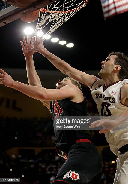 ASU Center Jordan Bachynski goes up for a block during Arizona State's Pac12 NCAA basketball game against Utah at Wells Fargo Arena in Tempe Arizona...