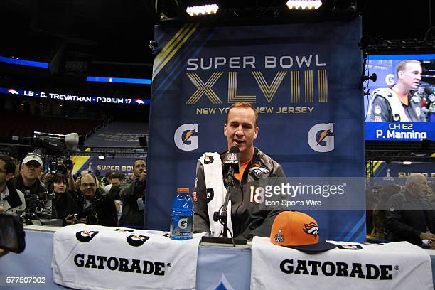 Denver Broncos quarterback Peyton Manning during Denver Broncos Super Bowl XLVIII media day fueled by Gatorade XLVIII at the Prudential Center,...