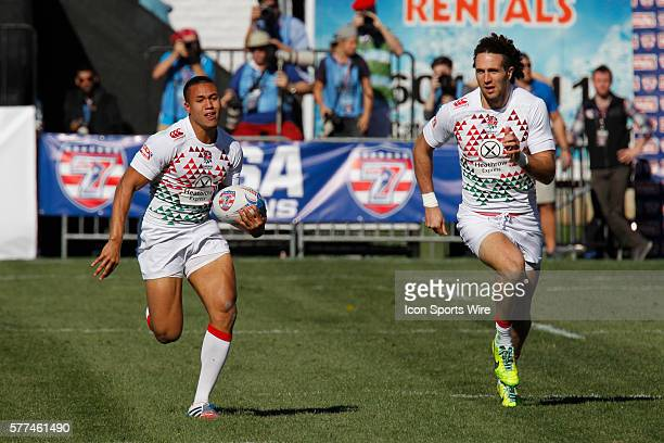 Marcus Watson of England runs downfield during day two of round 4 at the HSBC Sevens World Series of Rugby at Sam Boyd Stadium in Las Vegas Nevada