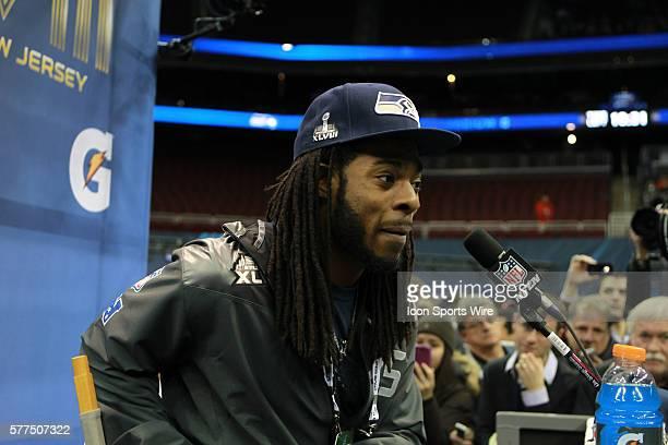 Seattle Seahawks cornerback Richard Sherman during Seattle Seahawks Super Bowl XLVIII media day fueled by Gatorade XLVIII at the Prudential Center,...