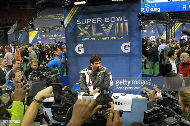 Seattle Seahawks quarterback Russell Wilson during Seattle Seahawks Super Bowl XLVIII media day fueled by Gatorade XLVIII at the Prudential Center,...