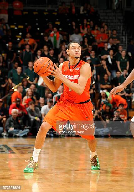 Syracuse University guard Tyler Ennis plays against the University of Miami in Syracuse's 6452 victory at BankUnited Center Coral Gables Florida