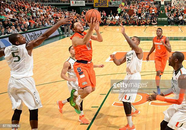 Syracuse University guard Tyler Ennis shoots against the University of Miami in Syracuse's 6452 victory at BankUnited Center Coral Gables Florida