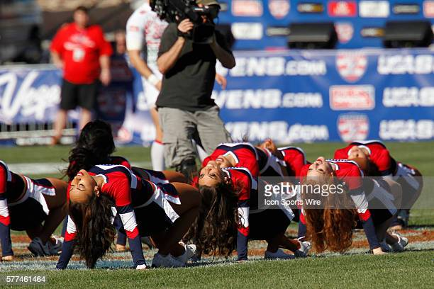 The USA Sevens Sweethearts perform during the England versus Uruguay match during day two of round 4 at the HSBC Sevens World Series of Rugby at Sam...