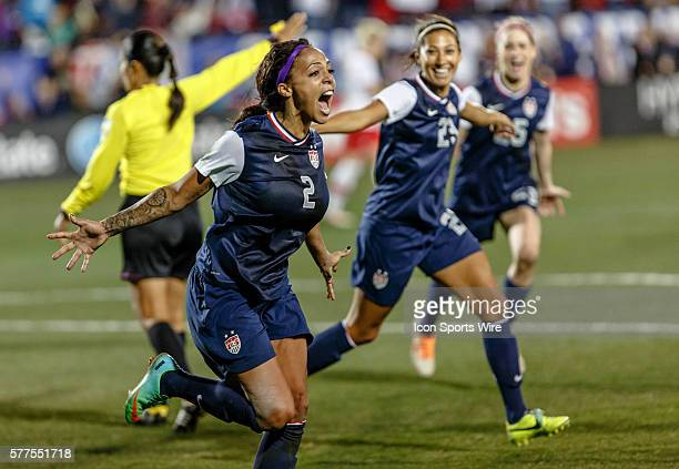 USA forward Sydney Leroux celebrates the winning goal during a friendly match between the Women's US National Team and the Women's Canadian National...