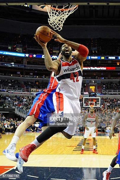 Washington Wizards power forward Nene Hilario in action against the Detroit Pistons who defeated the Washington Wizards 10498 at the Verizon Center...