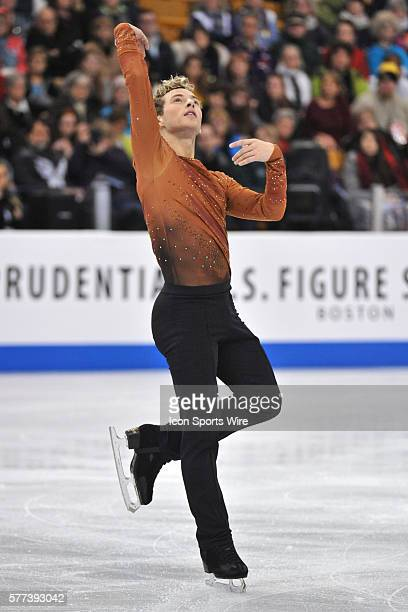 Adam Rippon puts on a dramatic routine during the US Figure Skating Championships at TD Garden in Boston MA