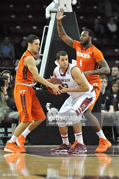 Boston College Eagles forward Ryan Anderson battles Virginia Tech Hokies guard Devin Wilson for the ball during the Boston College Eagles game...
