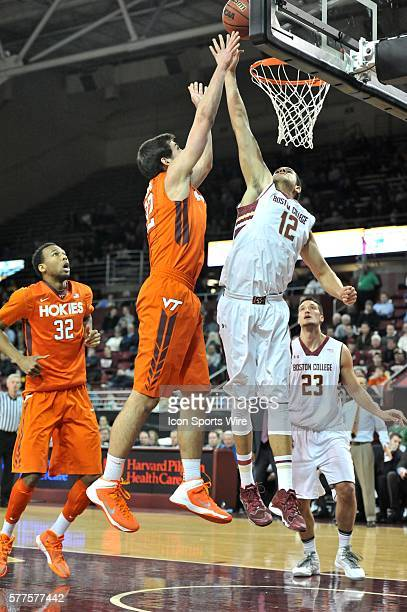 Boston College Eagles forward Ryan Anderson blocks the shot on the basket during the Boston College Eagles game against the Virginia Tech Hokies at...