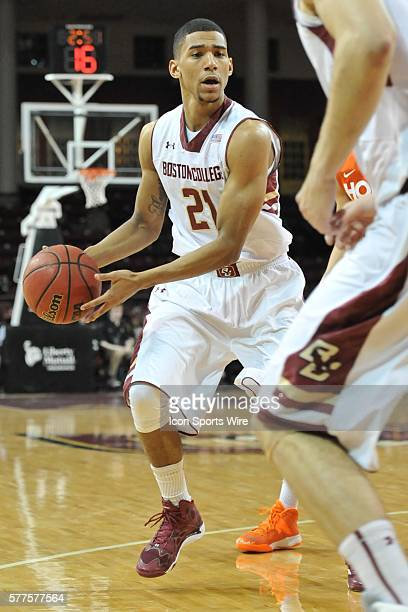 Boston College Eagles guard Olivier Hanlan for an open teammate to receive the pass during the Boston College Eagles game against the Virginia Tech...