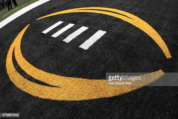 An end zone logo before the College Football Playoff National Championship game between the Oregon Ducks and the Ohio State Buckeyes at ATT Stadium...