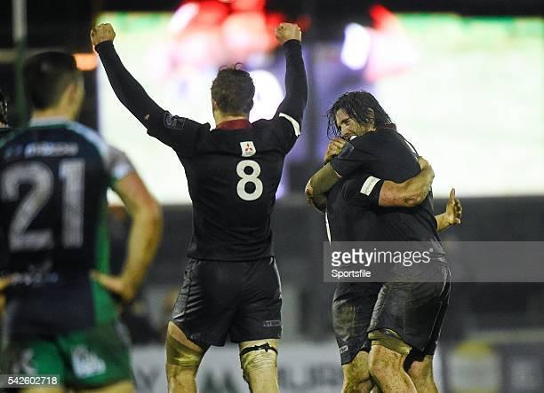January 2015; Edinburgh's David Denton, left, Sam Hidalgo-Clyne, hidden, and Ben Toolis, right, celebrate at the final whistle. Guinness PRO12, Round...