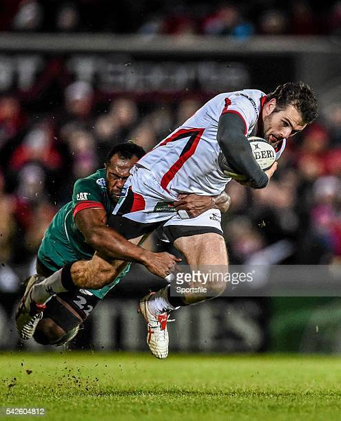24 January 2015 Jared Payne Ulster is tackled by Vereniki Goneva Leicester Tigers European Rugby Champions Cup 2014/15 Pool 3 Round 6 Ulster v...