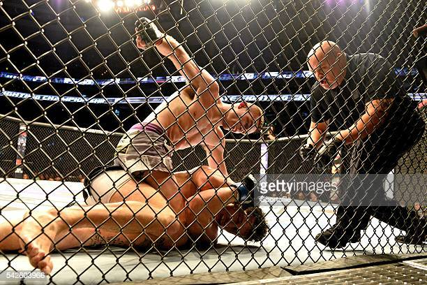 18 January 2015 Johnny Case above finishes his lightweight bout against Frankie Perez UFC Fight Night Johnny Case v Frankie Perez TD Garden Boston...