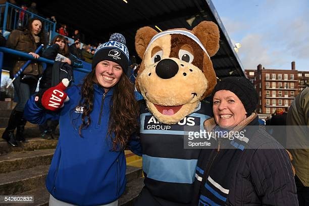 10 January 2015 Leinster supporters Katie left and Mary Boylan from Skerries Dublin with 'Bruiser' the Cardiff Blues mascot ahead of the game...