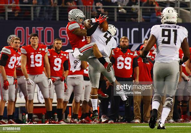 Ohio State Buckeyes running back Jalin Marshall makes the catch off the back of Oregon Ducks defensive back Erick Dargan during the Ohio State...