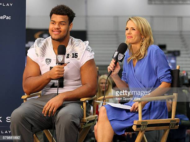 Oregon Ducks defensive lineman Arik Armstead during the College Football Playoff National Championship media day held at the Dallas Convention Center...