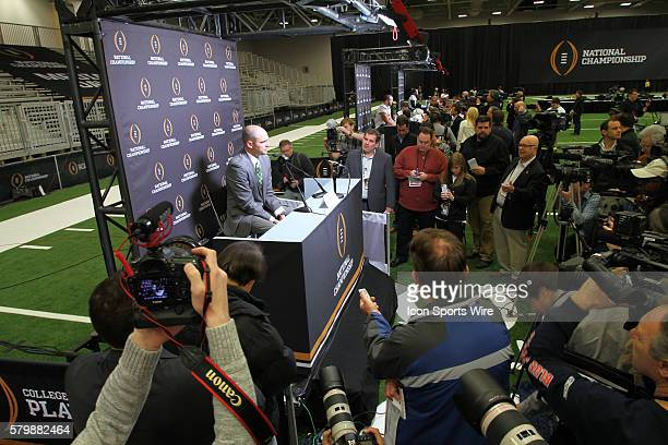 Oregon Ducks head coach Mark Helfrich is surrounded by media during the media day at the Kay Bailey Hutchinson Convention Center in Dallas Texas