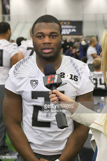 Oregon Ducks running back Royce Freeman during the College Football Playoff National Championship media day held at the Dallas Convention Center in...