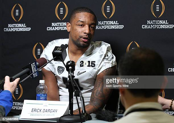Oregon Ducks safety Erick Dargan during the College Football Playoff National Championship media day held at the Dallas Convention Center in Dallas...
