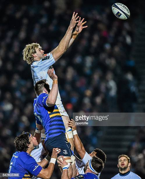 17 January 2015 Richie Gray Castres wins the ball from a lineout ahead of Jack Conan Leinster European Rugby Champions Cup 2014/15 Pool 2 Round 5...