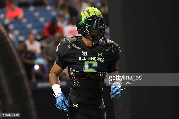 Team Armour linebacker Adonis Thomas during the 2015 Under Armour AllAmerica Game at Tropicana Field in St Petersburg Florida