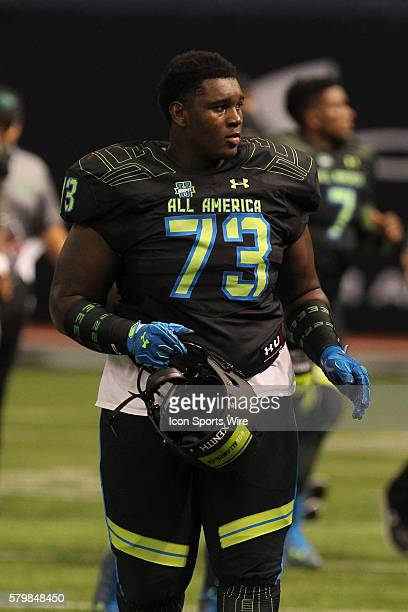 Team Armour offensive lineman Kendrick Norton during the 2015 Under Armour AllAmerica Game at Tropicana Field in St Petersburg Florida
