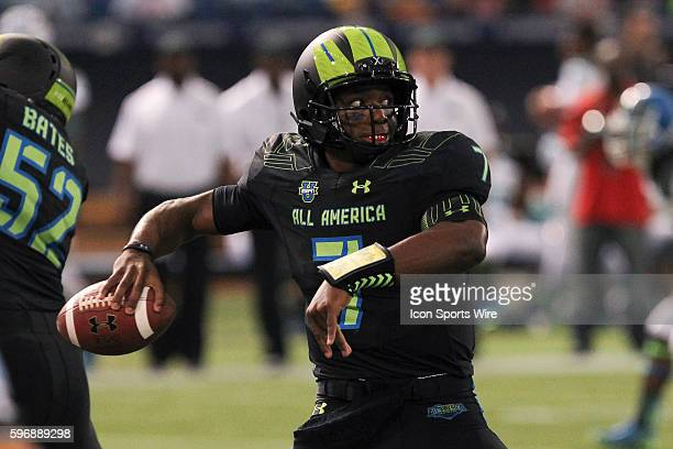 Team Armour quarterback Brandon Wimbush delivers a pass during the 2015 Under Armour AllAmerica Game at Tropicana Field in St Petersburg Florida