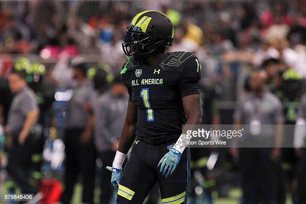 Team Armour safety Kerryon Johnson during the 2015 Under Armour AllAmerica Game at Tropicana Field in St Petersburg Florida