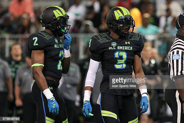 Team Armour safety Rashad Roundtree and Team Armour safety DeShon Elliott during the 2015 Under Armour AllAmerica Game at Tropicana Field in St...