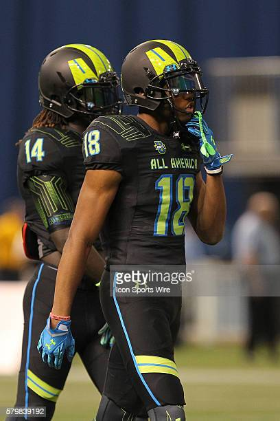 Team Armour wide receiver DaMarkus Lodge during the 2015 Under Armour AllAmerica Game at Tropicana Field in St Petersburg Florida
