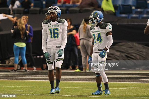 Team Highlight defensive back Marcus Lewis and Team Highlight defensive back Shaun Crawford during the 2015 Under Armour AllAmerica Game at Tropicana...