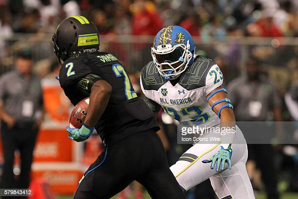 Team Highlight linebacker Darrell Williams moves into make a tackle on Team Armour running back Soso Jamabo during the 2015 Under Armour AllAmerica...