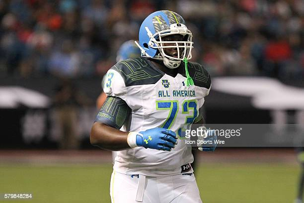 Team Highlight Offensive Lineman Tyree St Louis during the 2015 Under Armour AllAmerica Game at Tropicana Field in St Petersburg Florida