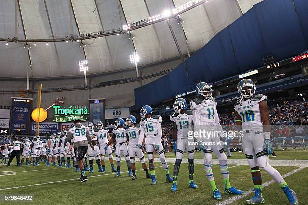 Team Highlight players during introductions before the 2015 Under Armour AllAmerica Game at Tropicana Field in St Petersburg Florida