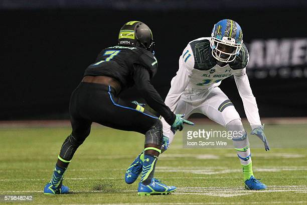 Team Highlight wide receiver George Campbell and Team Armour defensive back Kevin Toliver II in action during the 2015 Under Armour AllAmerica Game...