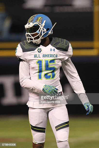 Team Highlight wide receiver John Burt during the 2015 Under Armour AllAmerica Game at Tropicana Field in St Petersburg Florida