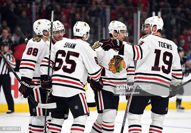 The Blackhawks celebrate scoring their second goal of the game in the first period during an NHL game between the Chicago Blackhawks and the Los...