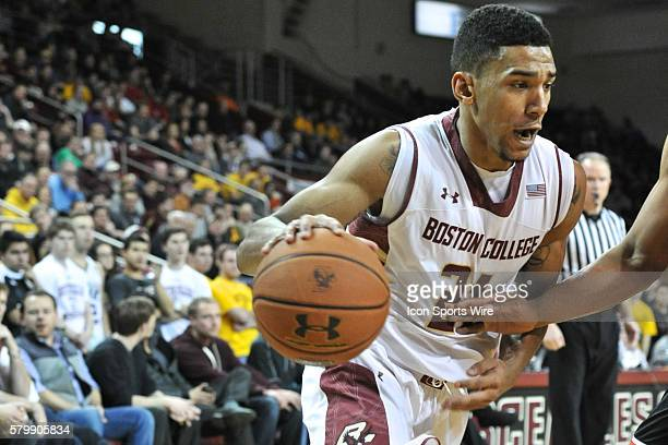 Boston College Eagles guard Olivier Hanlan drives hard to the basket during the Boston College Eagles game against the Louisville Cardinals at Conte...