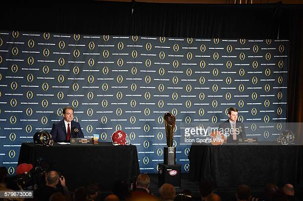 Alabama head coach Nick Saban and Clemson head coach Dabo Swinney addresses the media during the head coaches press conference for the College...