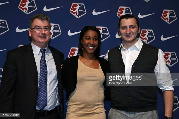 Brianne Reed with director of soccer operations Huw Williams and head coach Vlatko Andonovski was taken with the overall pick by FC Kansas City The...