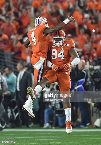 Clemson Deshaun Watson and Clemson Carlos Watkins celebrate after a touchdown in the first quarter during the College Football Playoff National...