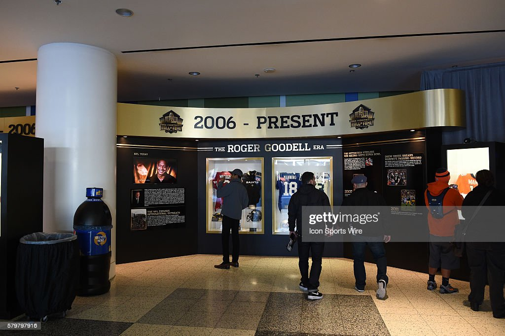 Depictions of past Super Bowl's on display during The NFL Experience