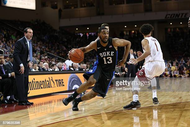 Duke guard Matt Jones drives to the hoop. The Duke University Blue Devils defeated the Boston College Eagles 81-64 in an ACC conference game at Conte...