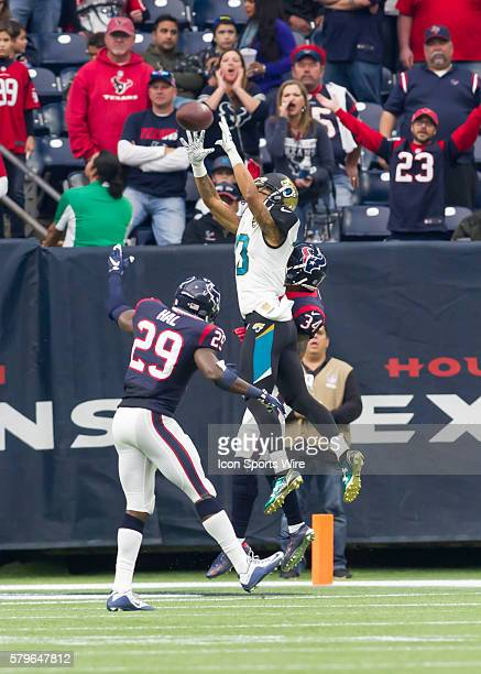 Jacksonville Jaguars wide receiver Rashad Greene tries to catch a pass during the NFL game between the Jacksonville Jaguars and Houston Texans at NRG...