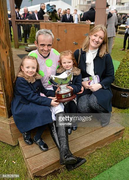 24 January 2016 Jockey Ruby Walsh with his wife Gillian and his daughters Isabella left and Elsa after winning the BHP Insurances Irish Champion...